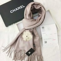 Chanel Trending Women Embroidery Camellia Mink Velvet Accessories Cape Scarf Scarves Pink I-TMWJ-XDH