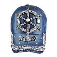 "Sail Away ""Bling"" Anchor Denim Blue Hat, Accessories"