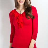 Serenade Top- Holiday Red