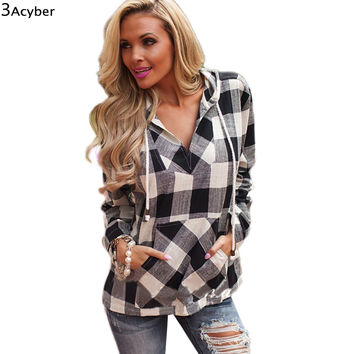 2016 Women Hoodies Sweatshirt Spring Cotton Long Sleeve Balck Red Women Plaid Hoodies Shirt Fit Blouse Plus Size Sweatshirt Top