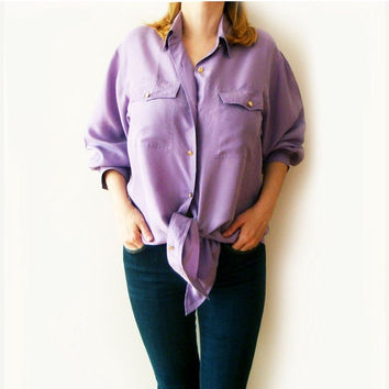 SALE 15% OFF Lilac Silk Blouse , Vintage knot tie Blouse , 80s , Womens Shirt , Large Silk Blouse
