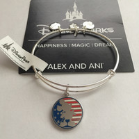 Disney Parks Mickey Mouse Flag Bangle by Alex and Ani Silver Finish New Tags