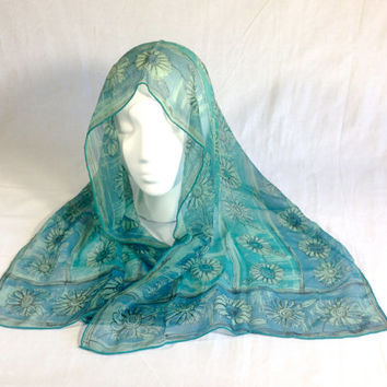 Vintage 60s Vera Neumann Long Floral Chiffon Scarf in Turquoise Blue and Seafoam Green Lucky Lady Bug Signature Womens Designer Scarves