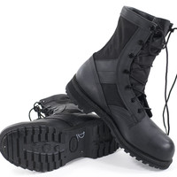 Military Boots Black Leather Army Combat Boots Mens Size 7.5 Womens Size 9