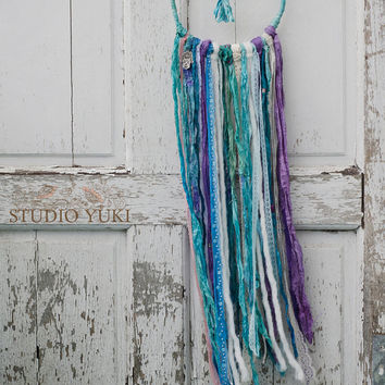 Bohemian Dreamcatcher, Blue, Purple, Hippie Decor, Boho, Gypsy, Air Inspired, Fair Trade, Wall Hanging, Native American Wall Art, Beads