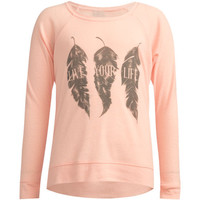 Full Tilt Feather Trio Girls Cozy Sweater Coral  In Sizes