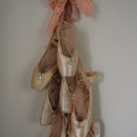 Faded pink ballet slipper grouping wall hanging shabby cottage chic dance art embellished distressed one of a kind decor anita spero design