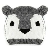Gray Contrast Koala Design Bobble Beanie Hat