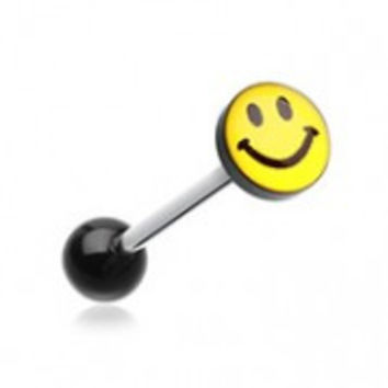 Smiley Face Logo Acrylic Barbell Tongue Ring