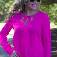 See You Tonight Blouse: Neon Pink - Lavish Boutique
