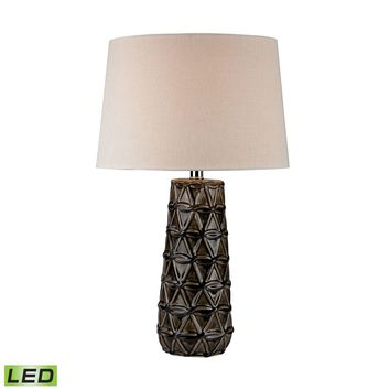 Stacked Brown Pedals LED Table Lamp Chocolate Brown Glaze