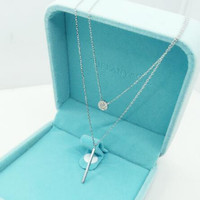 925 sterling silver double layer ziron necklace, a perfect gift