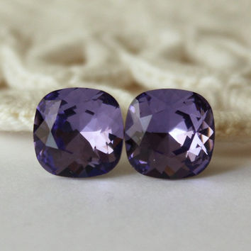 Tanzanite Purple Earrings. Square Cushion Cut Stud   Post Ear. ba23c315e