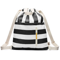 Black and White Stripe Canvas Drawstring Backpack