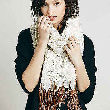 Free People Womens Crochet Leather Fringe Scarf