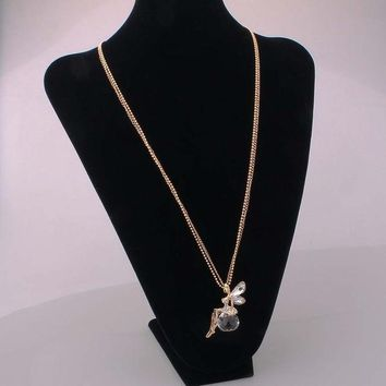 Gold Crystal Angel Wings Long Chain Necklace/Ahiny Butterfly Fairy Necklace Jewelry Women