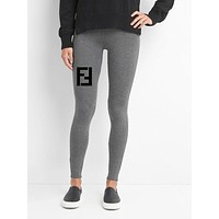 Fendi Givenchy GUCCI Moschino LV Balenciaga Letter Print Inspired Ankle Length Leisure Sports Leggings Pants