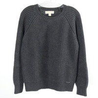 Michael Kors Chunky Knit Grey Crewneck Sweater Size L