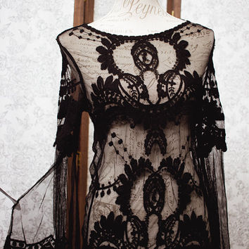ON SALE Lace blouse, black Victorian inspired lolita shirt boho chic steampunk blouse romantic goth