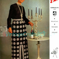 "Instant Download-1970s LOVELY LONG SKIRT-Fits 36 to 42"" Hips-Motifs Granny Squares Lady's Party Skirt--Vintage Crochet Pattern-Emu 3000"