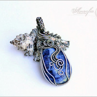 Sterling silver pendant wire wrapped sodalite blue  by amorfia