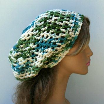 Cotton Mermaid slouchy beanie, hippie smaller dread tam hat, slouchy hat, summer beanie