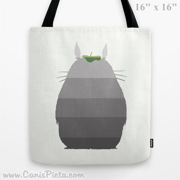 Ombre Totoro Silhouette My Neighbor 13x13 Tote Bag Anime Pop Culture Grey Manga Troll Hayao Miyazaki Studio Ghibli 16x16 18x18 Gift Her Him