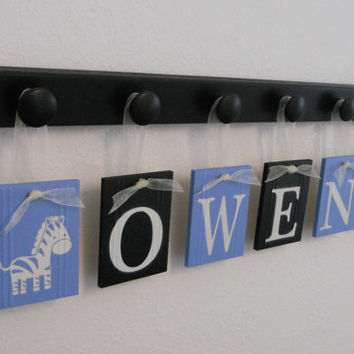 Safari Decor, Safari Nursery Set - 6 Wooden Knobs and Baby Name OWEN with Zebras Light Blue / Black, Safari Baby Boys Room, Safari Wall Sign