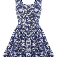 Blue Floral Sleeveless Bow Detailed Open Back Skater Dress