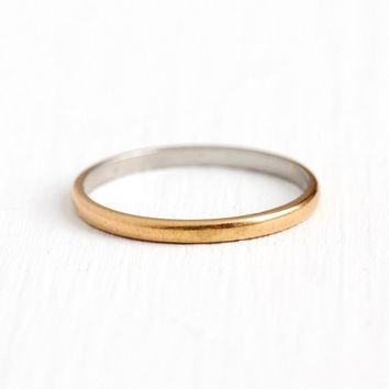 Vintage Wedding Band - 18k Yellow Gold & Platinum Plain Ring - Size 8 1/4 Minimalist Bridal Signed Fidelity Two Tone Fine Jewelry