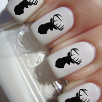 Black Deer Head Nail Decals by PineGalaxy on Etsy