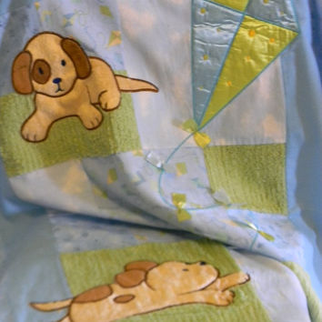 Adorable Flannel Baby Quilt With Puppies Playing With a Kite  - Can be Personalized