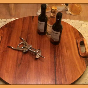 "Lazy Susan... 19"" Wine Barrel Style with Server Handles - Handmade - Wine Barrel Staves"