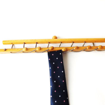 Midcentury Tie Rack, Italian Brevettie Reguitti Folding Wall Hooks, Vintage Man Gift, Jewelry Rack, Wood Wall Hook Kitchen Organizer