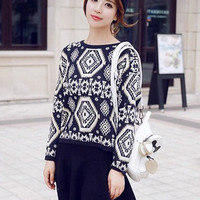 Dark Blue Geometric Print Knitted Sweater