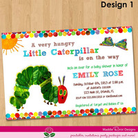 Very Hungry Caterpillar Baby Shower Invitation - Printable Party Invite - Custom Personalized Digital Photo Card 4x6 or 5x7