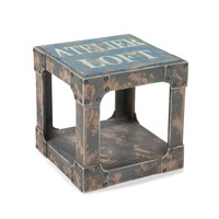 Loft Industrial Style Side Table Blue