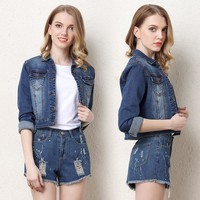 Denim Embroidery Slim Women's Fashion Jacket [206225768474]