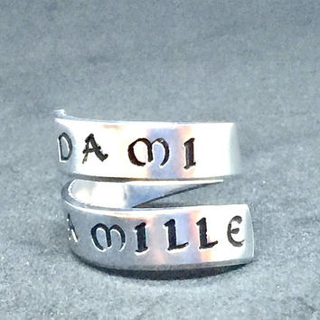 Celtic Jewelry - Da Mi Basia Mille  - Romantic Quote Wrap Ring - Hand Stamped - Gift Under 20