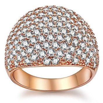 White Diamond Accent Dome Ring  Cluster Cubic Zirconia Paved Statement Wide Bands Size 511
