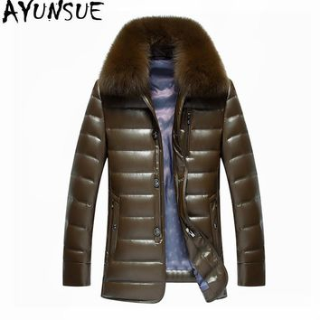 AYUNSUE Real Fox Fur Collar White Duck Down Jacket Men Winter Coat Thick Parkas Warm Mens Leather Jackets Chaqueta Hombre WXF450