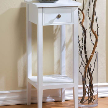 Accent Table-Slim White with Drawer