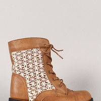 Wild Diva Lounge Tasha-09 Crochet Lace Up Ankle Bootie