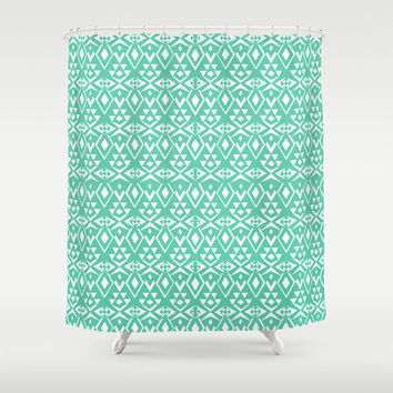 Ancient Tribe Aqua Turquoise Shower Curtain for your home decor