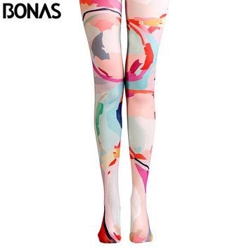 Art Pantyhose Painting Print Tights Women High Elastic Pantyhose Cotton Patterned Tights Pink Leggins