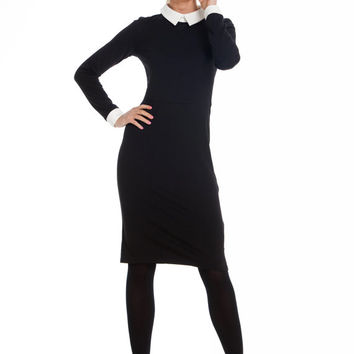 Black Female Dress,peter pan collar dress,Teacher Dress,Black and White,Colour Contrast,Pencil Skirt Jersey,
