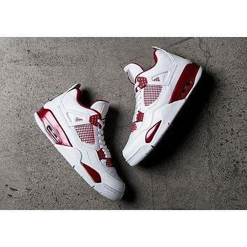 Air Jordan 4 Retro Alternate 89 Melo White/Black-Gym Red AJ4 Sneakers