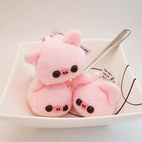 Baby Pork Pig Cube Plushie Keychain kawaii stuffed toy bag charm in soft pink fleece