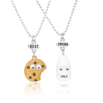 Free shipping Best Friends BFF pendant bead chain necklace fastfood milk cookie biscuit kids jewelry lead nickel free 2pcs/set