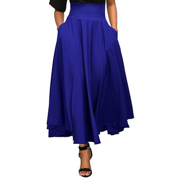 Chicloth Blue Retro High Waist Pleated Belted Maxi Skirt